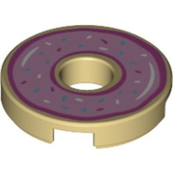 Tan Tile, Round 2 x 2 with Hole with Bright Pink Frosting and Sprinkles Pattern