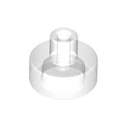 Trans-Clear Tile, Round 1 x 1 with Bar and Pin Holder - new