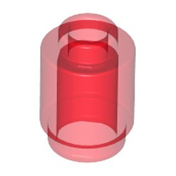 Trans-Red Brick, Round 1 x 1 Open Stud
