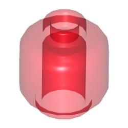 Trans-Red Minifigure, Head (Plain) - used - Hollow Stud