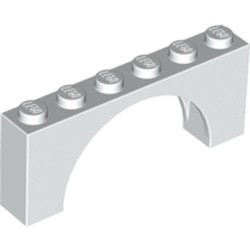 White Brick, Arch 1 x 6 x 2 - Medium Thick Top without Reinforced Underside - new