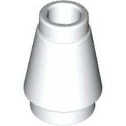 White Cone 1 x 1 with Top Groove - new