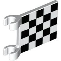 White Flag 2 x 2 Square with Checkered Pattern (Printed)