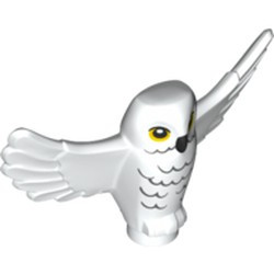 White Owl, Spread Wings with Black Beak, Yellow Eyes and Light Bluish Gray Rippled Chest Feathers Pattern, Hedwig; - new