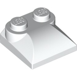 White Slope, Curved 2 x 2 x 2/3 with Two Studs and Curved Sides - new