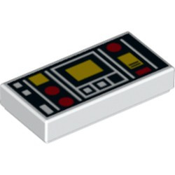 White Tile 1 x 2 with Groove with Red and Yellow Controls and Two White Squares on Left Pattern