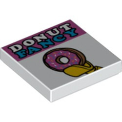 White Tile 2 x 2 with Groove with 'DONUT FANCY' and Doughnut in Minifigure Hand Pattern - new