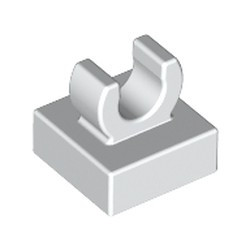 White Tile, Modified 1 x 1 with Open O Clip