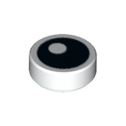 White Tile, Round 1 x 1 with Black Eye with Pupil Pattern