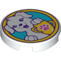 White Tile, Round 2 x 2 with Bottom Stud Holder with Puppy Dog, Yellow Trophy with Dark Pink Paw Print on Medium Azure Background Pattern