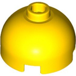 Yellow Brick, Round 2 x 2 Dome Top - Hollow Stud with Bottom Axle Holder x Shape + Orientation