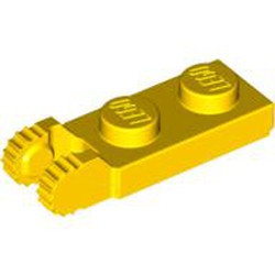 Yellow Hinge Plate 1 x 2 Locking with 2 Fingers on End and 9 Teeth without Bottom Groove
