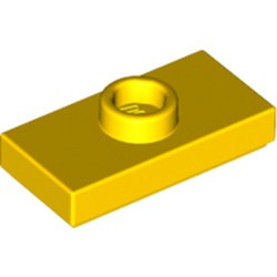 Yellow Plate, Modified 1 x 2 with 1 Stud with Groove and Bottom Stud Holder (Jumper) - new