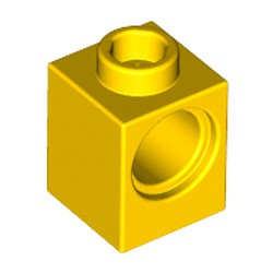 Yellow Technic, Brick 1 x 1 with Hole - used