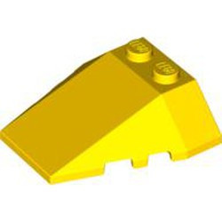 Yellow Wedge 4 x 4 Triple with Stud Notches - used