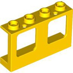 Yellow Window 1 x 4 x 2 Plane, Single Hole Top and Bottom for Glass - new