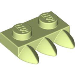 Yellowish Green Plate, Modified 1 x 2 with 3 Teeth