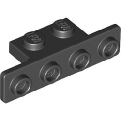 Black Bracket 1 x 2 - 1 x 4 with Two Rounded Corners at the Bottom