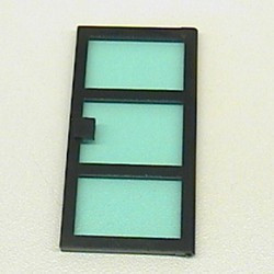 Black Door 1 x 4 x 6 with 3 Panes with Trans-Light Blue Glass - used