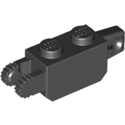 Black Hinge Brick 1 x 2 Locking with 1 Finger Vertical End and 2 Fingers Vertical End, 9 Teeth - used