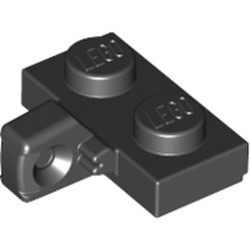 Black Hinge Plate 1 x 2 Locking with 1 Finger on Side with Bottom Groove