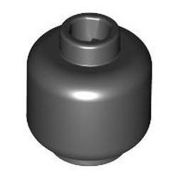 Black Minifigure, Head (Plain) - new - Hollow Stud