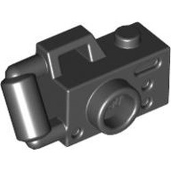 Black Minifigure, Utensil Camera Handheld Style with Extended Bar Handle