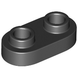 Black Plate, Modified 1 x 2 Rounded with 2 Open Studs - new