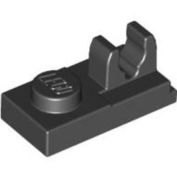 Black Plate, Modified 1 x 2 with Clip on Top - new