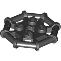 Black Plate, Modified 2 x 2 with Bar Frame Octagonal, Reinforced, Completely Round Studs - new
