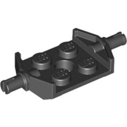 Black Plate, Modified 2 x 2 with Wheels Holder Wide and Hole - new