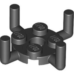 Black Plate, Round 2 x 2 with Pin Hole and 4 Arms Up - new