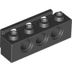 Black Technic, Brick 1 x 4 with Bumper Holder