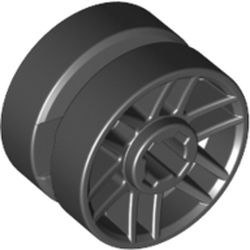 Black Wheel 14mm D. x 9.9mm with Center Groove, Fake Bolts and 6 Double Spokes