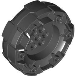 Black Wheel Hard Plastic, Treaded with 7 Pin Holes and 6 Small Holes