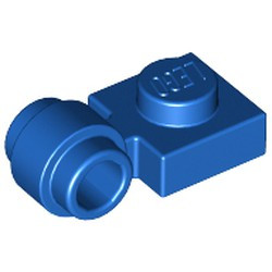 Blue Plate, Modified 1 x 1 with Light Attachment - Thick Ring - used