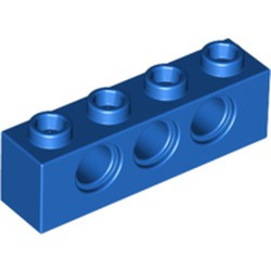 Blue Technic, Brick 1 x 4 with Holes - used