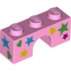 Bright Pink Brick, Arch 1 x 3 with Stars and Hearts Pattern - new