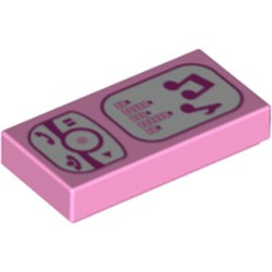 Bright Pink Tile 1 x 2 with Groove with Magenta and White Cell Phone / Music Player Pattern - new