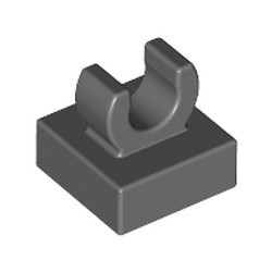 Dark Bluish Gray Tile, Modified 1 x 1 with Open O Clip - used