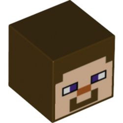 Dark Brown Minifigure, Head, Modified Cube with Minecraft Steve Face Pattern