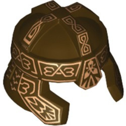 Dark Brown Minifigure, Headgear Helmet Castle with Cheek Protection and Dark Red Ornaments Pattern (Gimli) - used