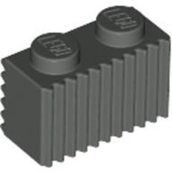 Dark Gray Brick, Modified 1 x 2 with Grille / Fluted Profile