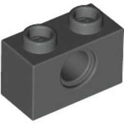 Dark Gray Technic, Brick 1 x 2 with Hole - used