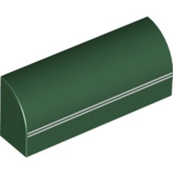 Dark Green Slope, Curved 1 x 4 x 1 1/3 with 2 Thin White Stripes Pattern - new