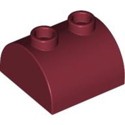 Dark Red Slope, Curved 2 x 2 x 1 Double with Two Studs - used