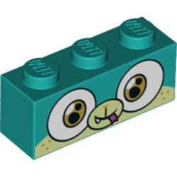 Dark Turquoise Brick 1 x 3 with Dog Face Wide Eyes Smiling, Light Green Muzzle and Snout, Closed Mouth and Tongue Pattern (Alien Puppycorn) - new