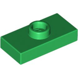 Green Plate, Modified 1 x 2 with 1 Stud with Groove (Jumper)