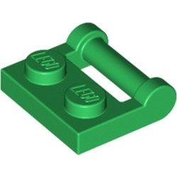 Green Plate, Modified 1 x 2 with Bar Handle on Side with Closed Ends - used