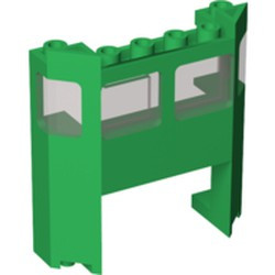 Green Train Front with 1 x 4 x 2 Cutout with Trans-Black Glass - used